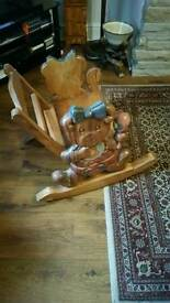 Childrens solid wood rocking chair