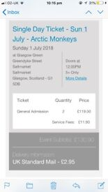 2 TRNSMT TKTS SUN 1st JULY ARCTIC MONKEYS, SIGRID, MILES KANE £100 can deliver in Fife