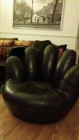 BROWN LEATHER SWIVEL HAND CHAIR