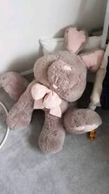 large soft toy bunny / rabbit pink and brown
