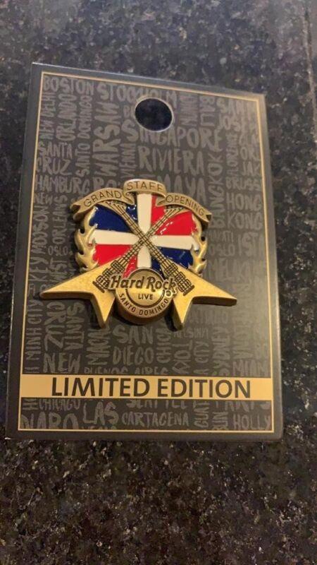 Hard Rock Cafe Santo Domingo LIVE Grand Opening Staff Pin Crossed Guitars Flag