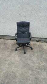 Black leather office chair height adjustable with wheels