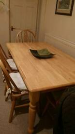 Dining room table and chairs solid pine