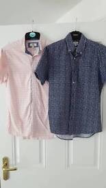 Two short sleeve shirts (navy and pink)