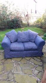 2 x 2 Seater Sofas. Matching Pair. Navy Blue.
