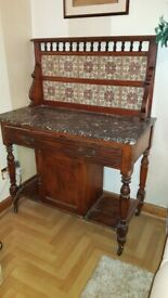 VINTAGE WASH STAND VICTORIAN EDWARDIAN TILES MARBLE TOP