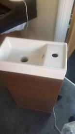 Walnut vanity sink