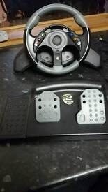 Xbox 360 racing wheel and games