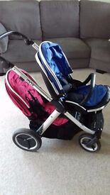 Oyster Max Twin Pushchair with Carry cots and Seats (with covers)