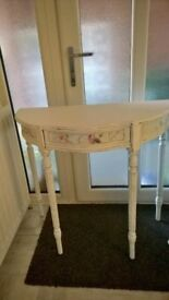 Shabby chic dressing table in white with light blue paper detail with drawer