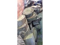 a large amount of oak logs and coal ideal fire coal burning central heating boiler