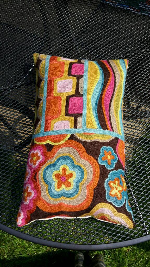 Retro patterned embroidered cushion