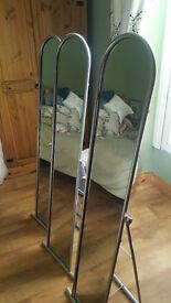 Stand alone tall mirror x 3 . Brushed aluminium finish