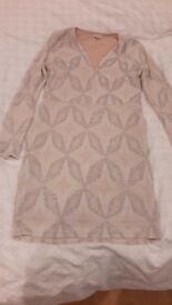 RIVER ISLAND size 14 nude & silver bodycon party dress