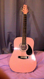 pink stagg 3/4 size acoustic folk guitar