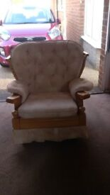 2 identical living room rocking chairs and 1 electric leather reclining chair