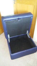 Blue leather pouffe