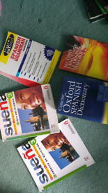 Spanish text books and dictionary