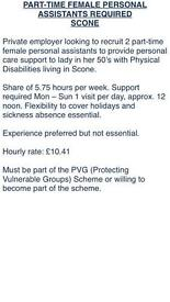 Carer wanted in Scone