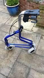 Three wheeled walking frame