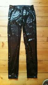 Womens New Black Sequinned Leggings