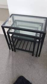 Metal and glass cluster tables