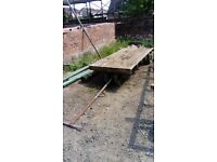 Heavy Duty Steel Timber Cart with timber flat bed - No 4