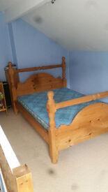 Kingsize solid wood bed + mattress