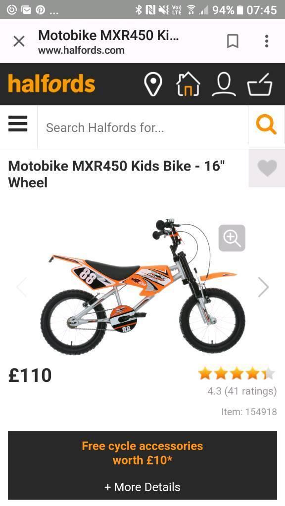 "Kids 16"" motorbike bike and helmet"