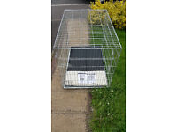 Extra Large Foldable Dog Crate with tray and mat.