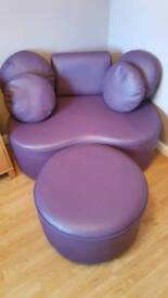 Feature corner chair with footstool