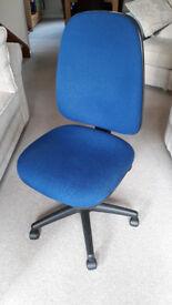 Office Chair, Blue Fabric, Height Adjust, Back Tilt & Seat Tilt - 3 Levers