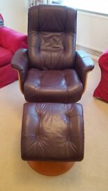 Leather Recliner Chair with Footrest - Swivel and Tilt.