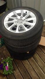 4 Audi wheels mint condition with 2 Pirelli tyres and 2 new tyres