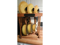 Le Creuset 3 Pan Set Complete with Stand. (Yellow Mustard Coloured)