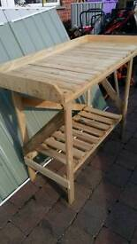 Wooden potting shed table