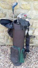 Left Hand Golf Clubs, bag and glove