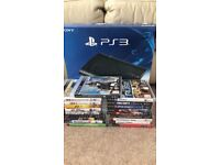 PS3 slim with 450gb external hard drive with 19 games