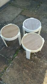 vintage set of nesting outdoor tables