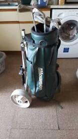Starter golf set bag trolley few clubs