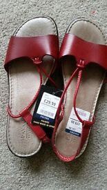 Brand New Pavers Ladies Red Sandals