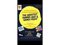 Greatest summer quiz and games night