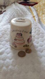 Wedding Savings Piggy Bank Pot white size small