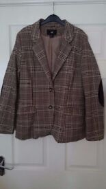 Ladies tweed look jacket with elbow patches size 16