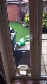 Double glazed French door glass with cat flap