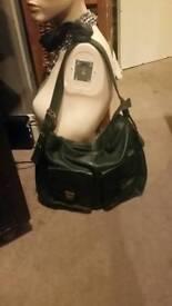 Bottle green real leather satchel handbag