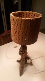 Wooden lamp and shade