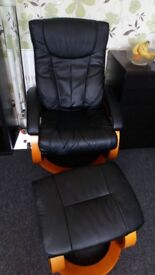 1 X Leather look chair and foot rest
