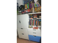 IKEA kids furniture (wardrobe, cupboard and shelving unit) with STEENS mid sleeper bed