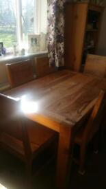 Solid wood table and chairs £300 Ono